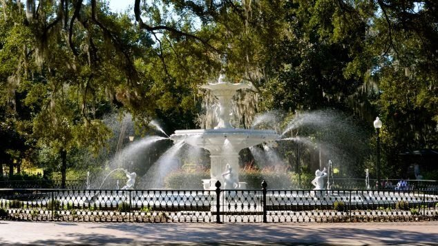 **This image is for use with this specific article only**  The fountain at Forsyth Park is a frequently photographed symbol of Savannah.  CREDIT: Wolfgang Kaehler/LightRocket via Getty Images