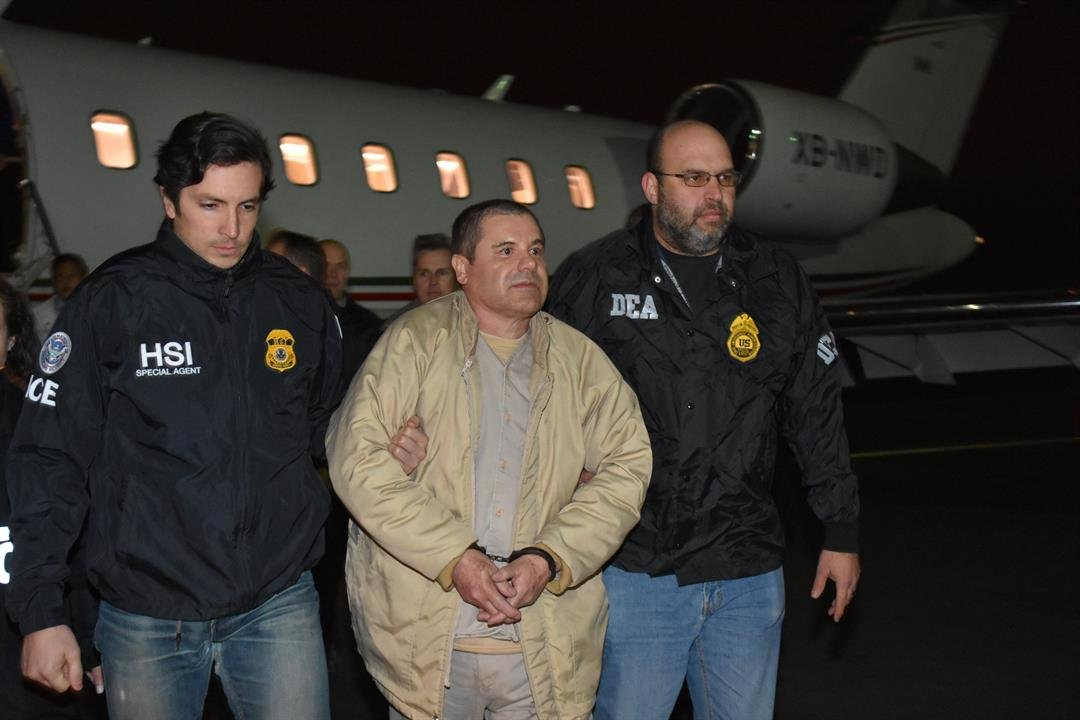 Now Guzman is behind bars again -- held at the Metropolitan Correctional Center in Manhattan, New York, while he awaits trial.  File- El Chapo arrives in New York after his extradition to the United States in January, 2017.