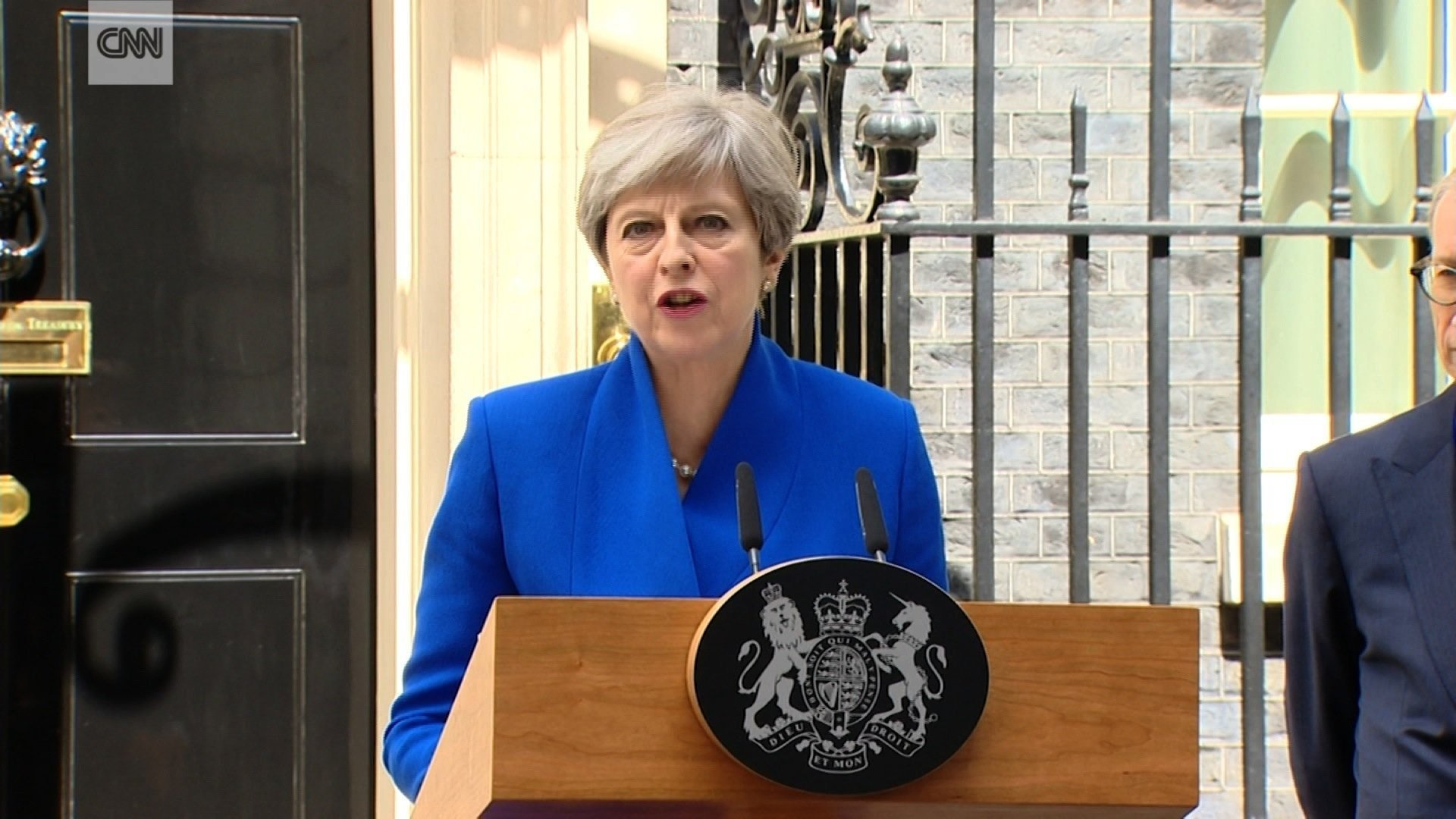 British Prime Minister Theresa May is seen here speaking in London in June 2017. (File Photo)