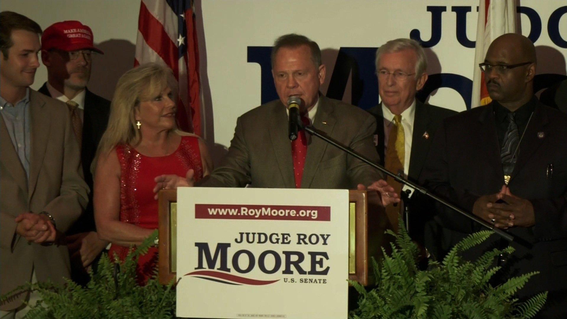 Former judge Roy Moore wins senate GOP runoff in Alabama.