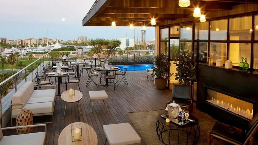 The Serras Hotel, Barcelona, Spain: The rooftop terrace of the Serras overlooks the Marina Port Vell and features a bar and pool.