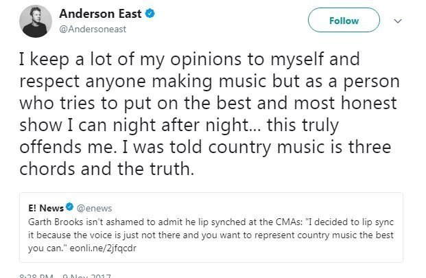 Anderson East's Instagram post criticizes Garth Brooks' performance at CMAs. Brooks admits to lip-syncing, says his voice just wasn't up to it due to heavy touring.
