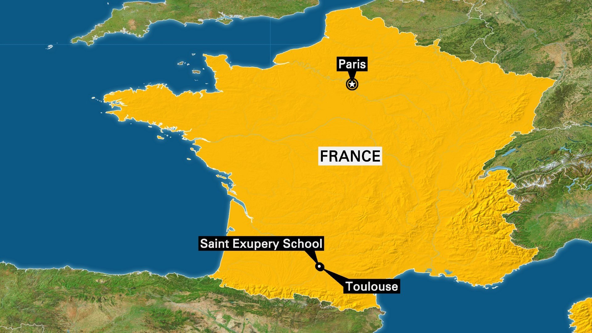 A vehicle was intentionally driven into three students outside a high school near the southern French city of Toulouse, injuring them, the country's interior ministry said.