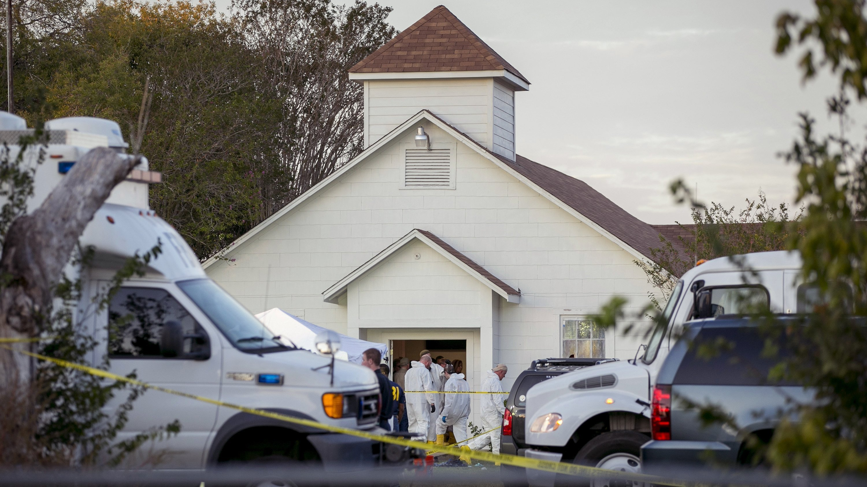 **This image is for use with this specific article only**  It was a gorgeous day in Sutherland Springs, and worshipers at First Baptist Church were singing the praises of Christ. Suddenly, the joyous prayers were drowned out by screams of terror.