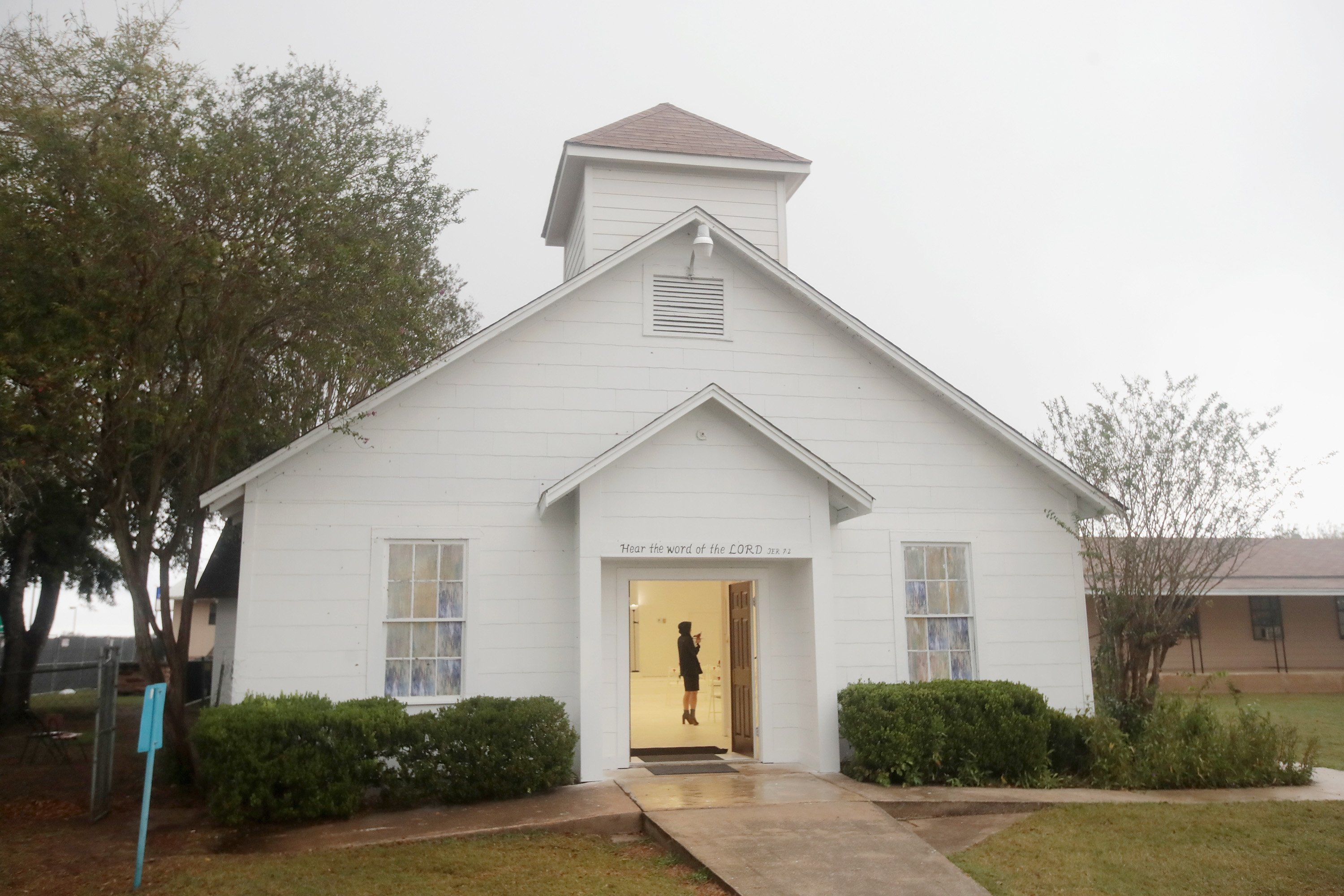 **This image is for use with this specific article only.**  First Baptist Church of Sutherland Springs held its first service since a gunman opened fire on parishioners last week, killing 25 people and an unborn child, residents and visitors got to see...