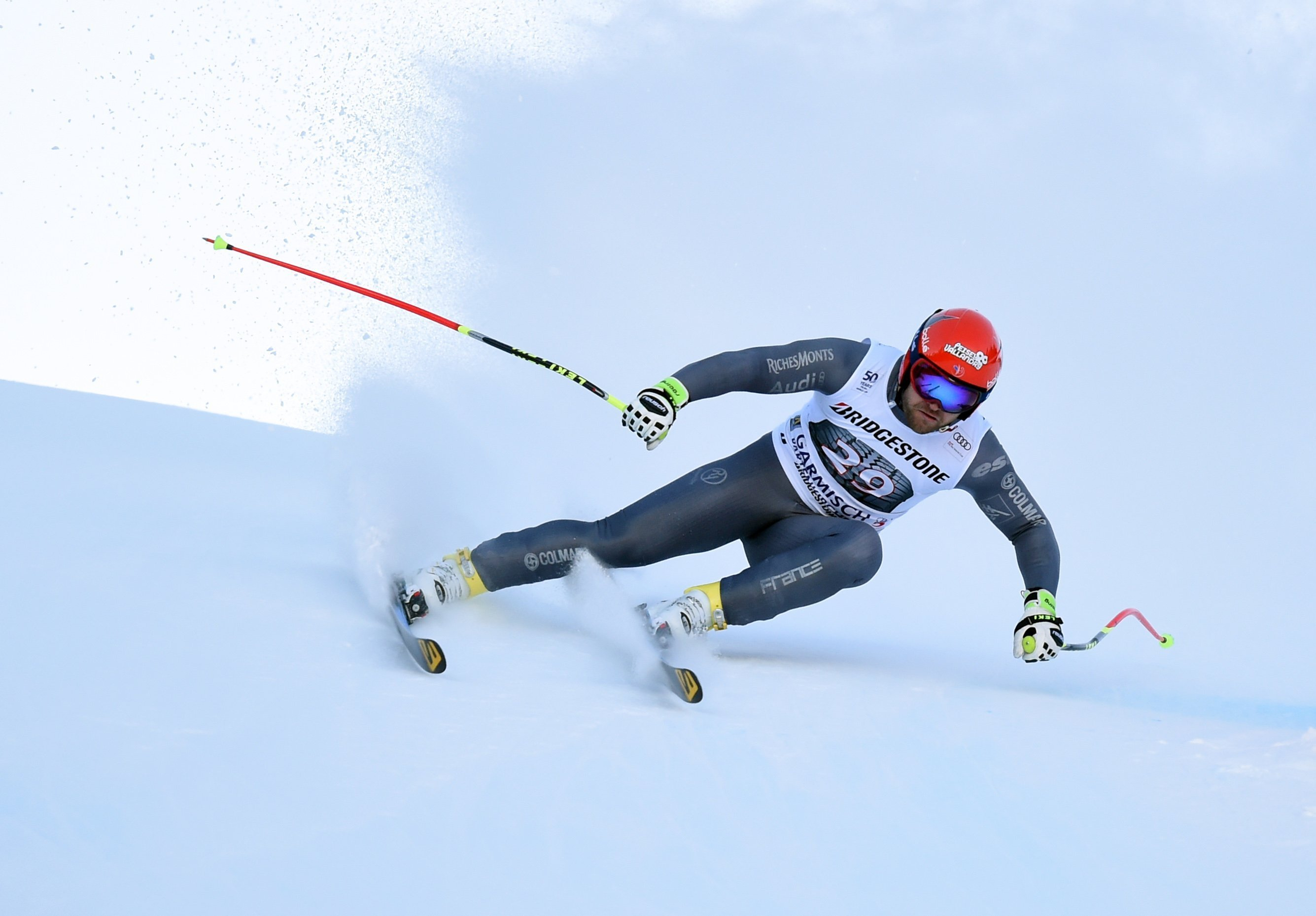 **This image is for use with this specific article only**  American ski great Lindsey Vonn led tributes to French ski racer David Poisson who died after a crash in training.