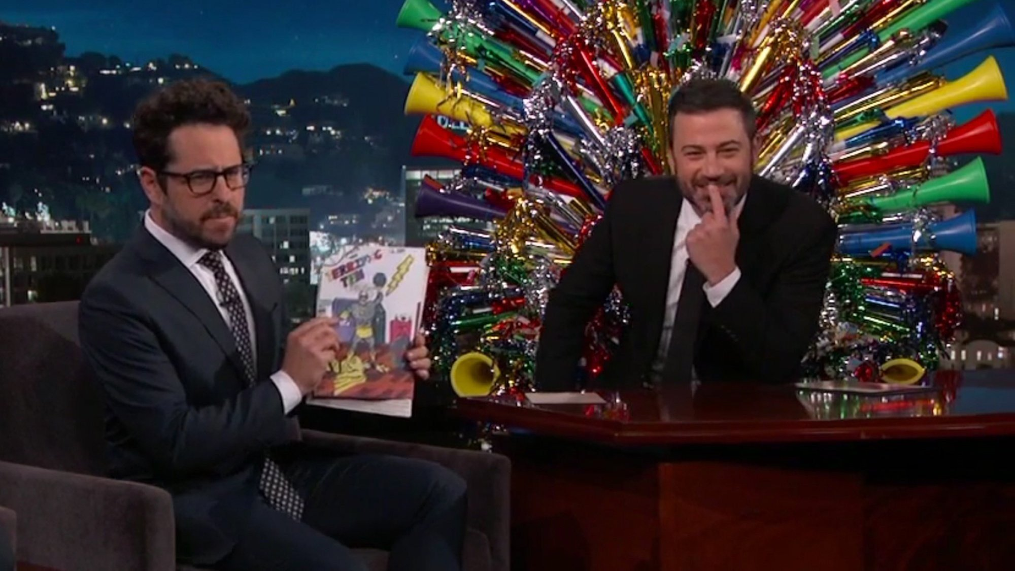 J.J. Abrams gave Jimmy Kimmel a throwback birthday gift for his 50th birthday celebration.
