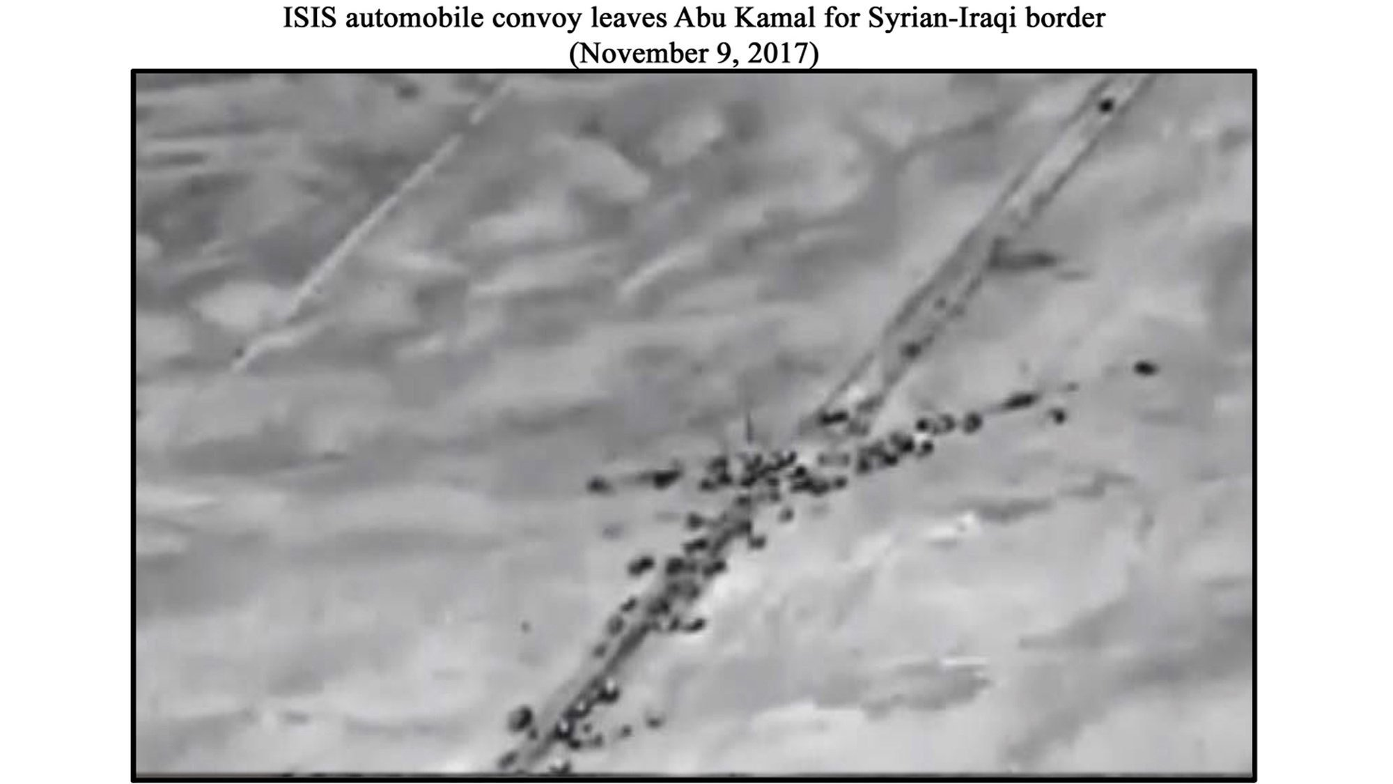 """The Russian defense ministry posted a number of aerial images that it claimed were of ISIS convoys, It said the US intervened to """"use (ISIS) to promote American interests in Middle East."""""""