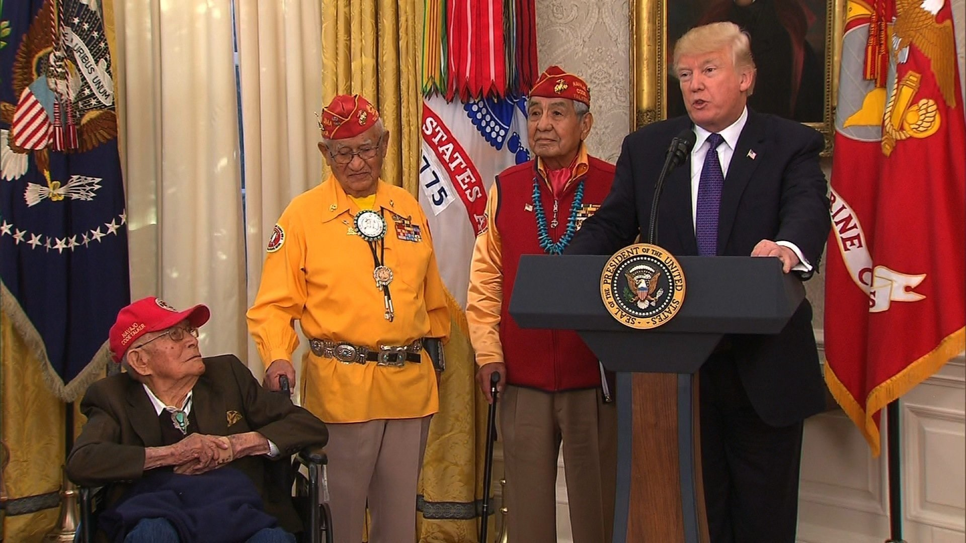 President Trump speaks at an event at the White House honoring Navajo code talkers