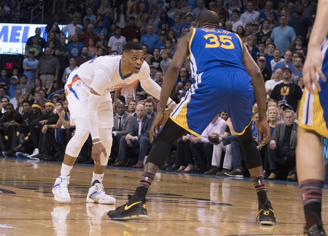 **This image is for use with this specific article only**  Russell Westbrook #0 of the Oklahoma City Thunder and Kevin Durant #35 of the Golden State Warriors face off during the first half of a NBA game at the Chesapeake Energy Arena on February 11,...