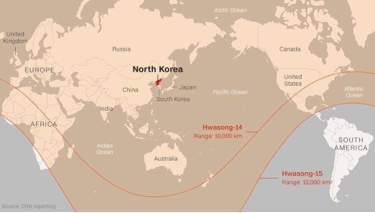 Wednesday's missile reached an altitude of up to 4,475 kilometers (2,800 miles), higher than any previous launch, a North Korea reading that was in line with estimates released by Japan and South Korea.