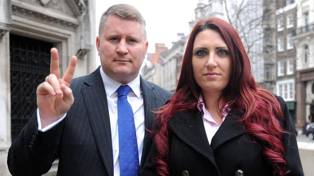**This image is for use with this specific article only**  Britain First leader Paul Golding and deputy leader Jayda Fransen arrive at the Royal Courts of Justice in central London.  CREDIT: Nick Ansell/PA Images/Getty Images