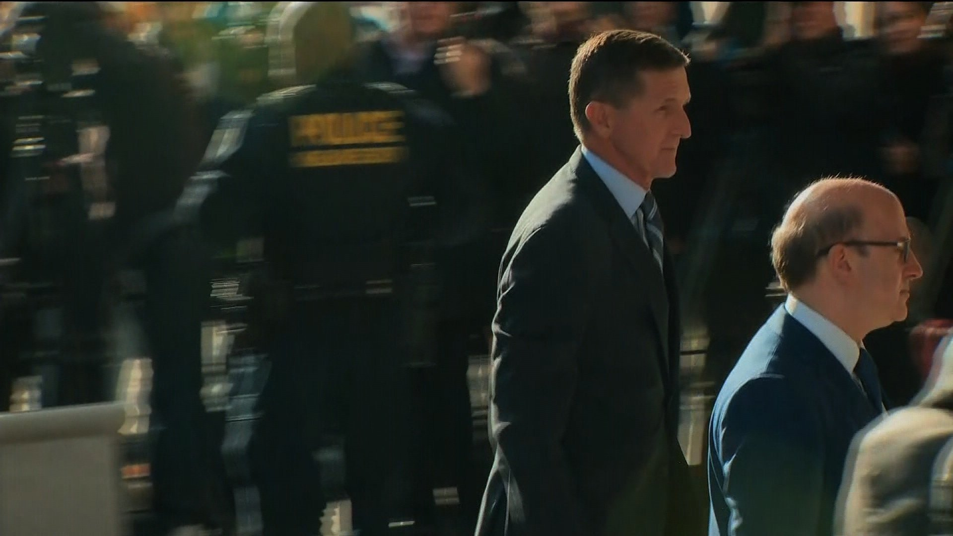 "Former Donald Trump national security Michael Flynn arrives at court on December 1, 2017, to plead guilty to ""willfully and knowingly"" making ""false, fictitious and fraudulent statements"" to the FBI about conversations with Russia's ambassador,..."