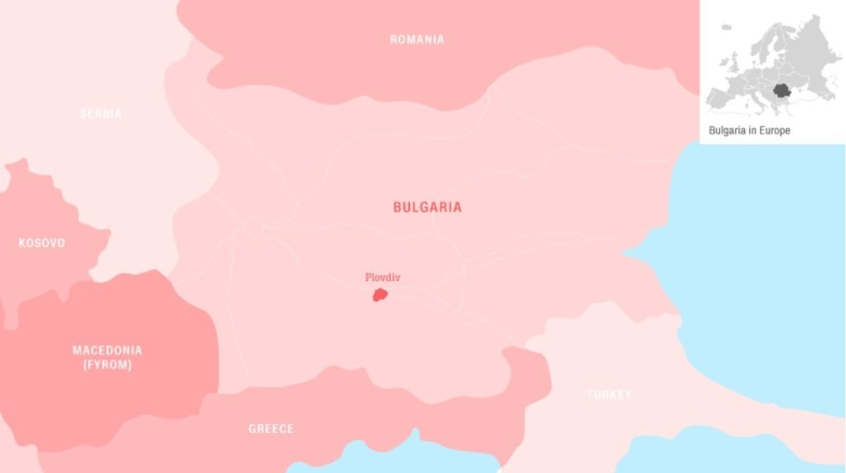 A map of Bulgaria.
