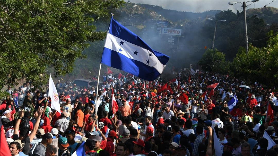 **This image is for use with this specific article only.**  Thousands of Salvador Nasralla's supporters are shown holding a demonstration in Tegucigalpa, Honduras, on December 3, 2017.