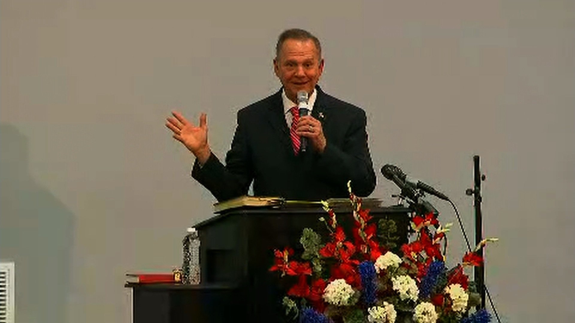 Alabama Republican Senate candidate Roy Moore says he's being hounded by the news media over sexual allegations against him, while briefly addressing the controversy Tuesday night.