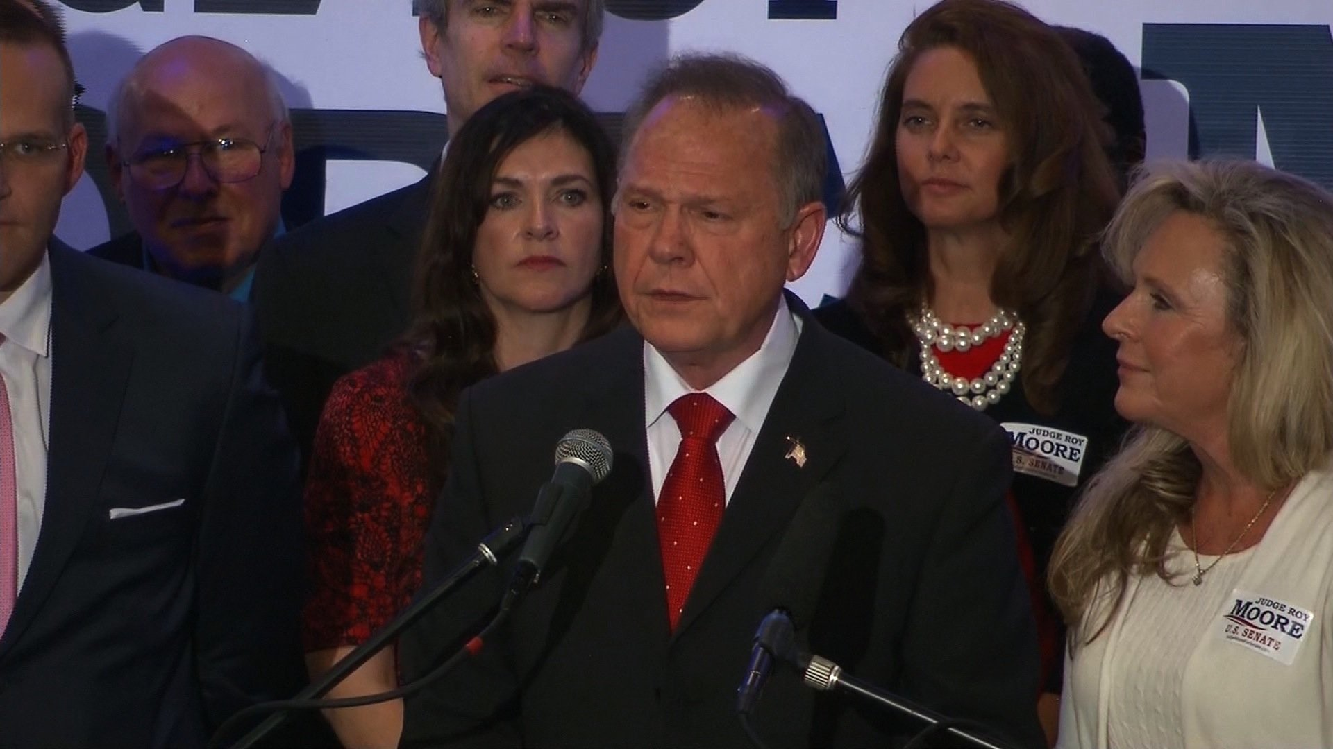 Alabama Republican Senate nominee Roy Moore spoke on November 16, 2017. He continued to deny the allegations against him as more women continue to come forward.