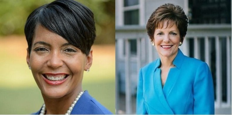Democrat Keisha Lance Bottoms (left) faces independent Mary Norwood (right) in Tuesday's, December 5, 2017 nonpartisan runoff to succeed Atlanta Mayor Kasim Reed, who is term limited from seeking re-election.  Keisha Lance Bottoms/Mary Norwood/Twitter