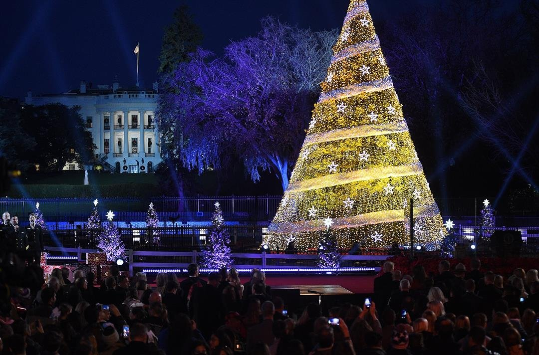 **This image is for use with this specific article only.**  President Donald Trump and the first lady Melania Trump attend the 95th annual National Christmas Tree Lighting held by the National Park Service at the White House Ellipse in Washington,...