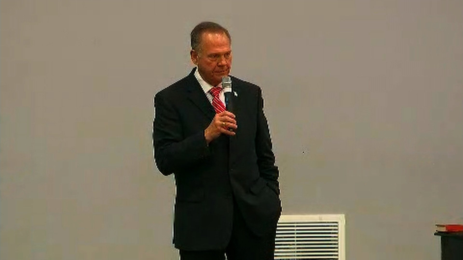 "Judge Roy Moore speaks at the ""God Save America Revival Conference,"" hosted by Walker Springs Road Baptist Church in Jackson, Alabama on November 14, 2017."