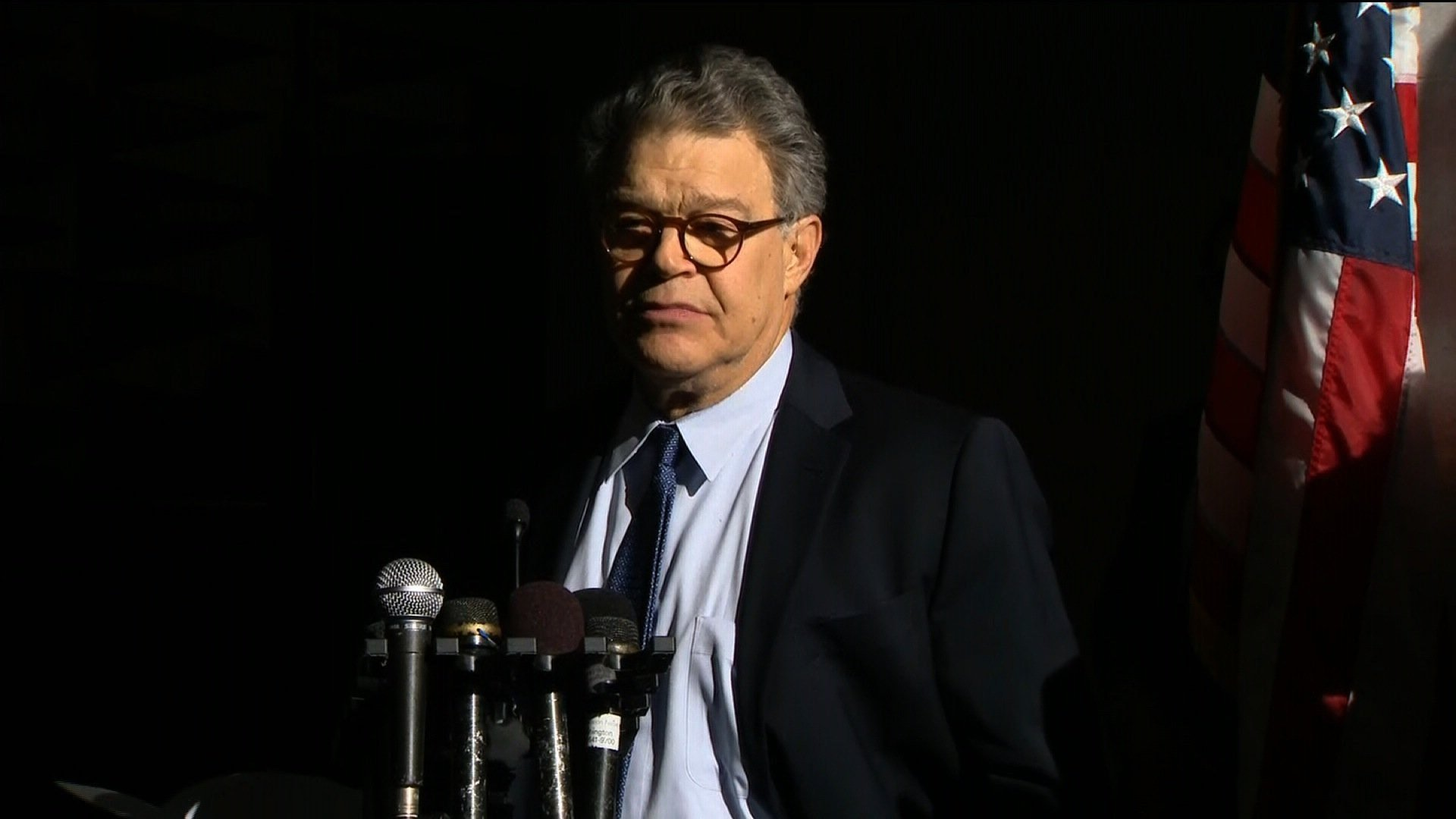 Minnesota Democratic Sen. Al Franken returned to work Monday, November 27, 2017 on Capitol Hill, telling reporters outside of his Capitol Hill office that he was sorry to everyone he let down.