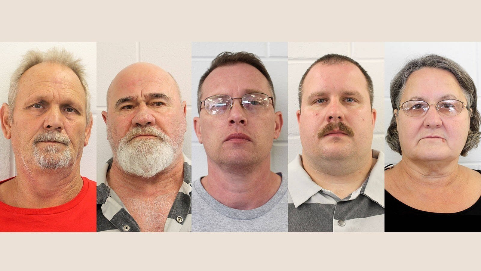 From left, Bill Moore Sr. and Frankie Gebhardt have been charged with murder in Coggins' death, while Gregory Huffman, Lamar Bunn and his mother, Sandra Bunn, have been charged with obstruction, police say.