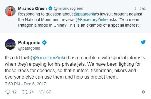 Outdoor retailer Patagonia and the Interior Department continued their public spat over US national monuments on Twitter