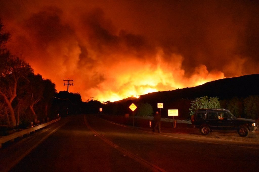 The Ventura Country Fire Department in California posted this image of the Thomas Fire pushing its way toward East Ventura late Monday, December 4, 2017 night.