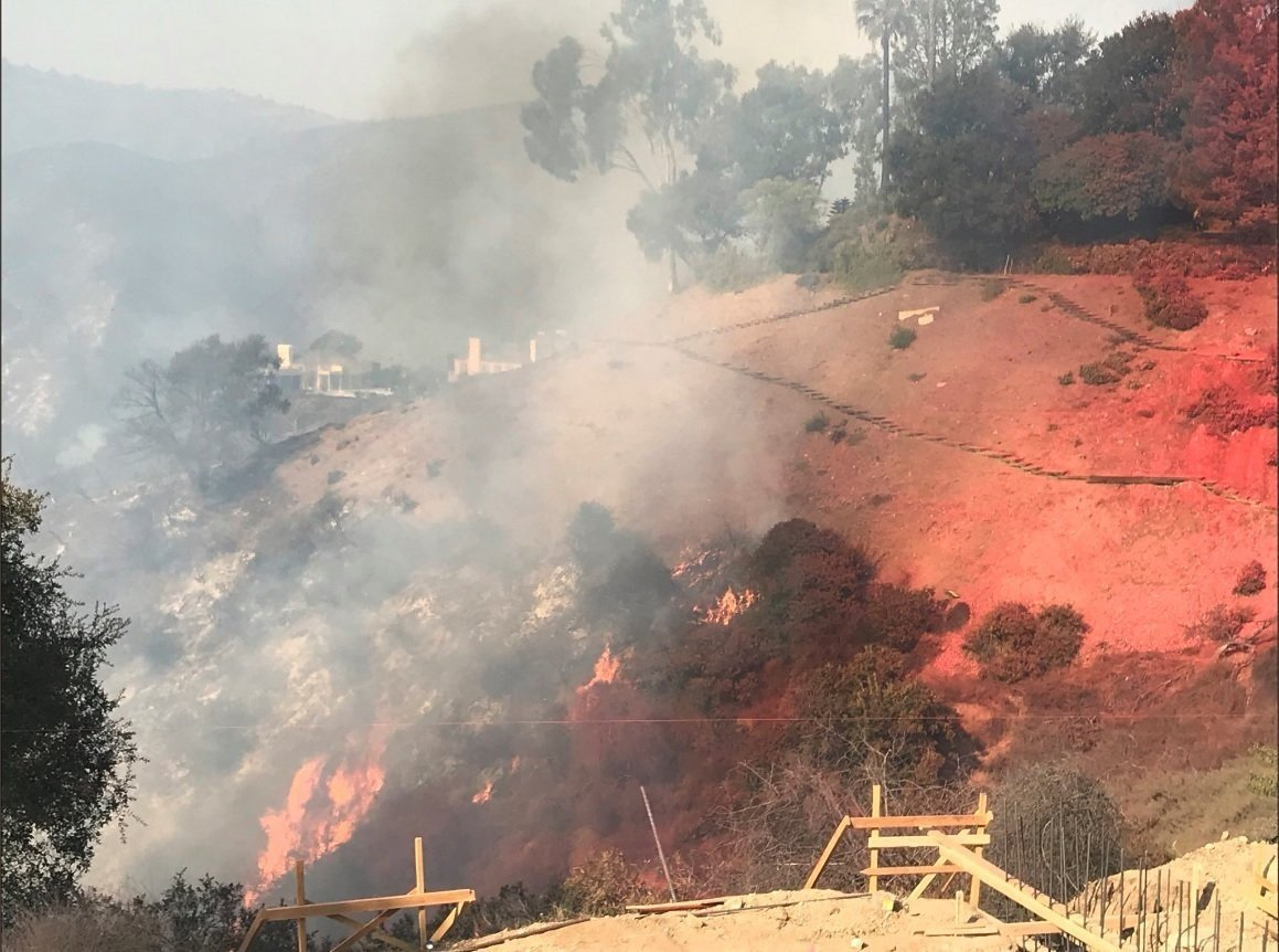 Images of fire burning in Bel Air during the Los Angeles fire on December 6, 2017.