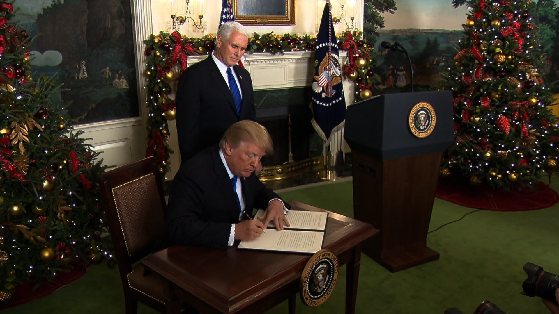 President Donald Trump speaks on December 6, 2017 recognizing Jerusalem as Israel's capital and announcing plans to relocate the US embassy there, a move that is expected to inflame tensions in the region and unsettle the prospects for peace.
