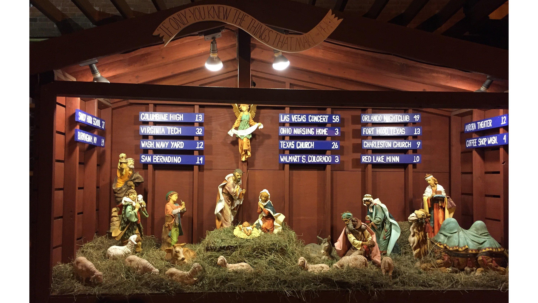 This year's manger scene outside Saint Susanna Parish in suburban Boston, Massachusetts.  Credit: Father Stephen Josoma/Saint Susanna Parish