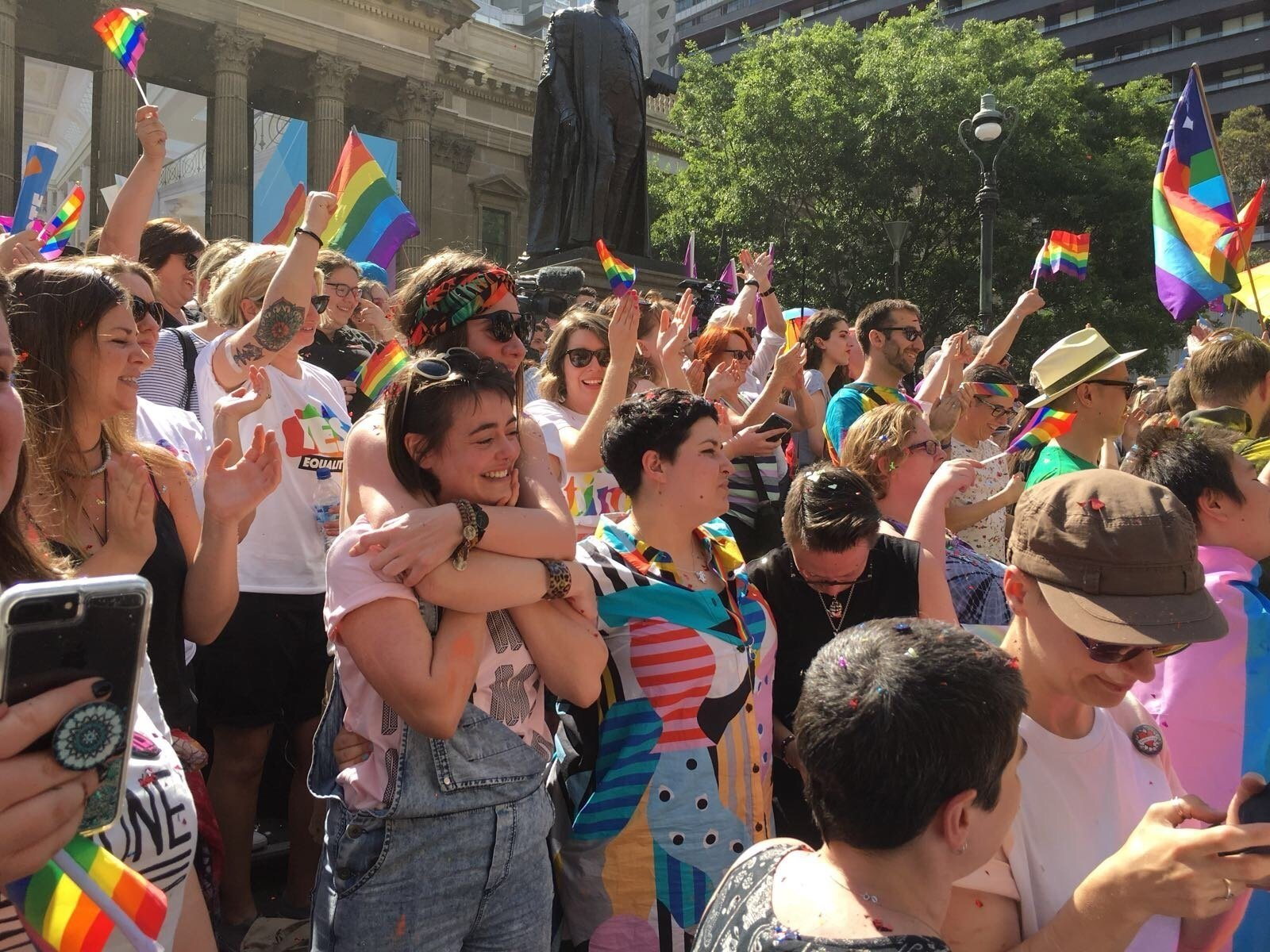 Crowds in Melbourne erupted in cheers after the result was announced.