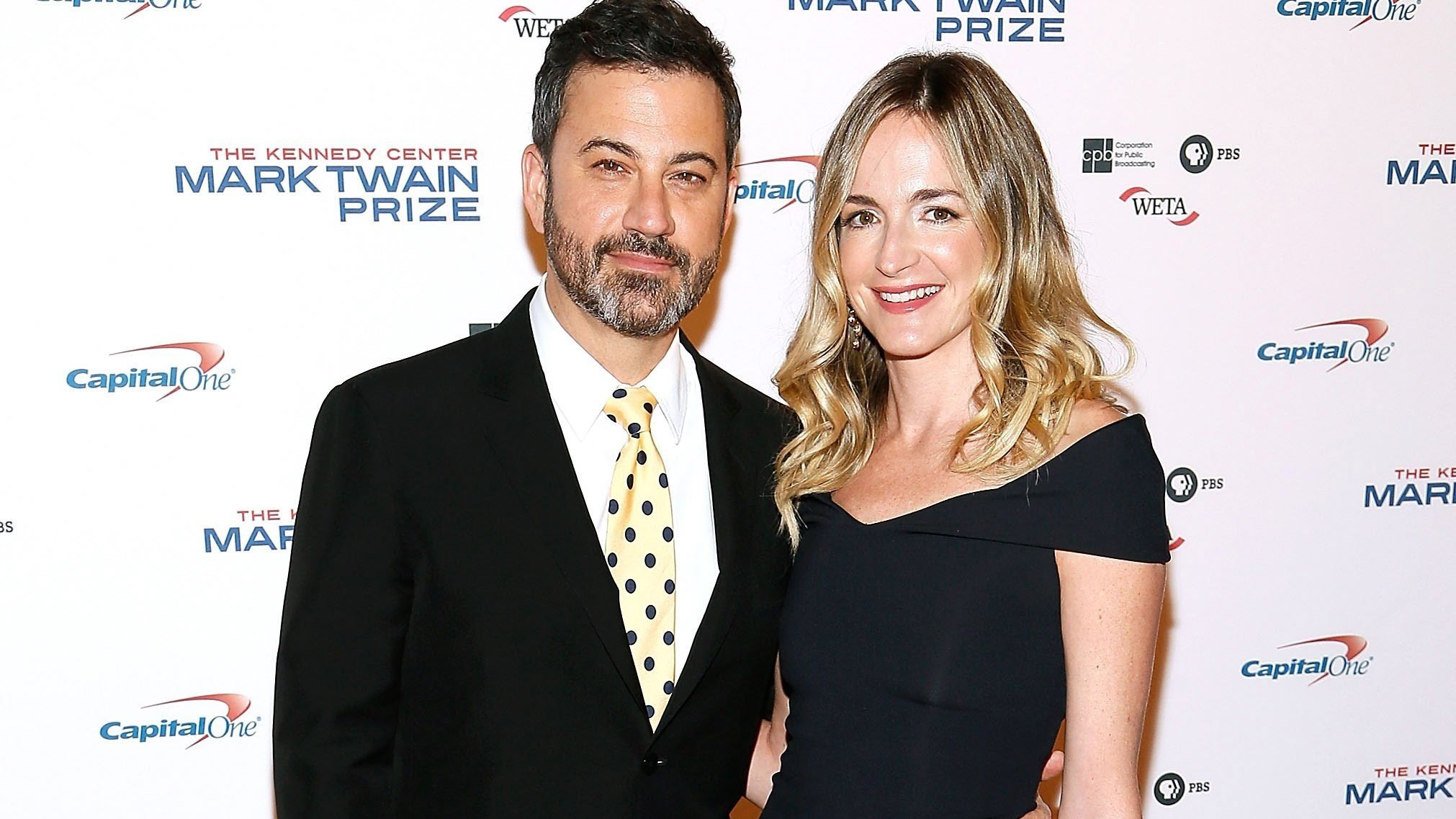 **This image is for use with this specific article only.**  Jimmy Kimmel and his wife Molly McNearney arrive to the 2017 Mark Twain Prize for American Humor at The Kennedy Center on October 22 in Washington.