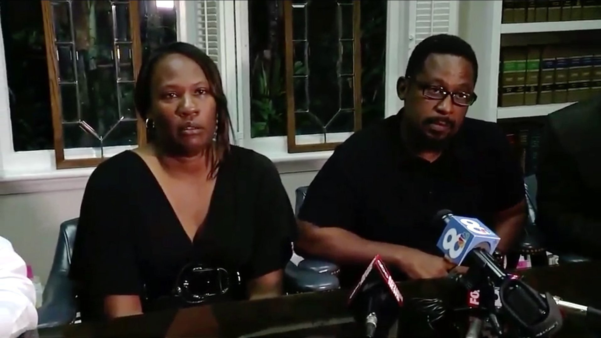 **Embargo: Tampa, FL**  Rosita Donaldson and Howell Donaldson Jr., spoke after their son was arrested and accused of killing four people in Tampa, Florida.