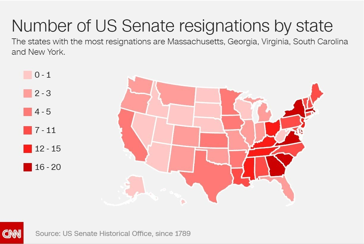 The states with the most resignations are Massachusetts, Georgia, Virginia, South Carolina and New York.