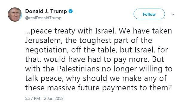 President Trump's tweets came nearly a month after he became the first sitting US President to recognize Jerusalem as Israel's capital drawing Palestinians into the streets in protest