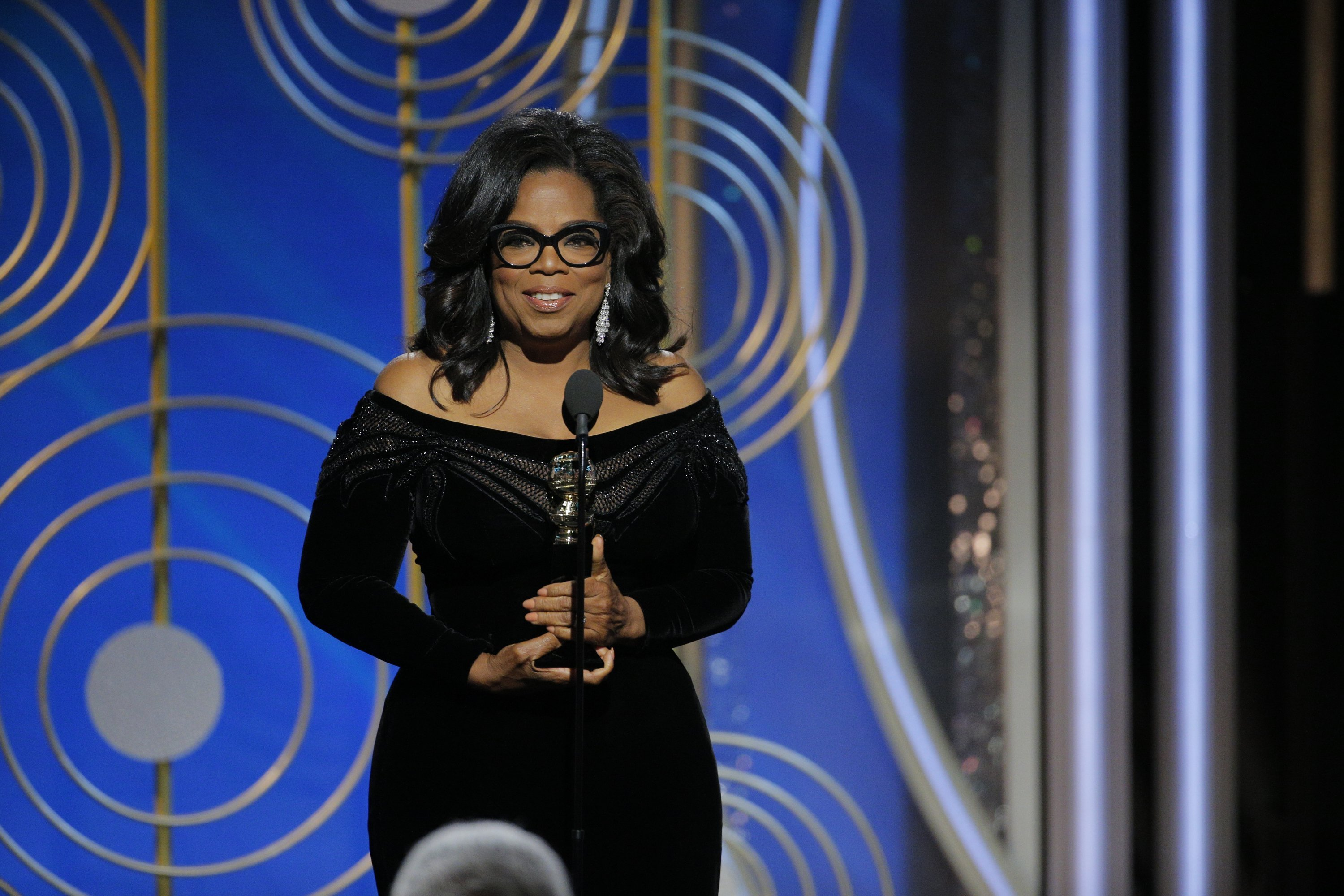 Oprah Winfrey accepts the Cecil B. Demille Award at the 75th Annual Golden Globe Awards held at the Beverly Hilton Hotel