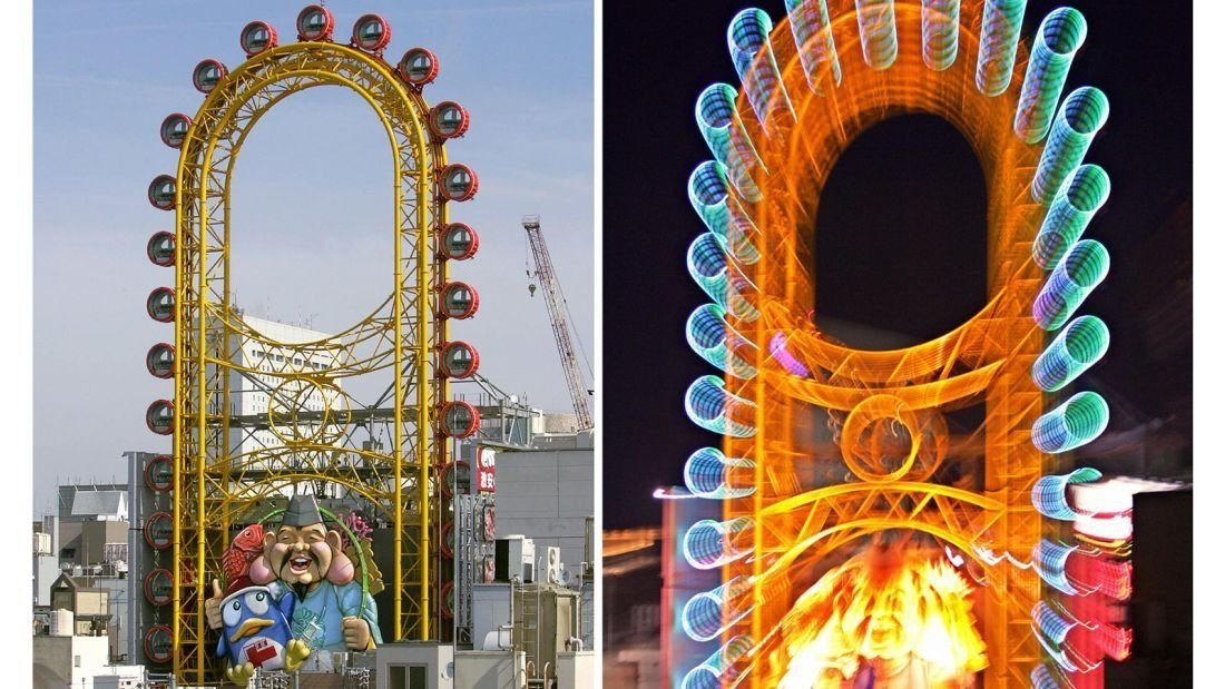**This image is for use this this specific article only**  Most visitors to Osaka, Japan, have seen the bright yellow oblong-shaped Ferris wheel next to the famous Glico Man Sign billboard along the Dotonbori River