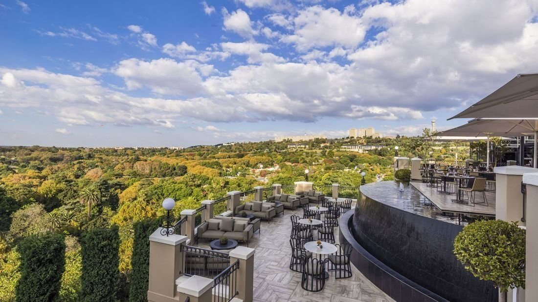 The luxury hotel -- recently bought by the Four Seasons recently -- serves decadent meals with views over Johannesburg's northern suburbs.