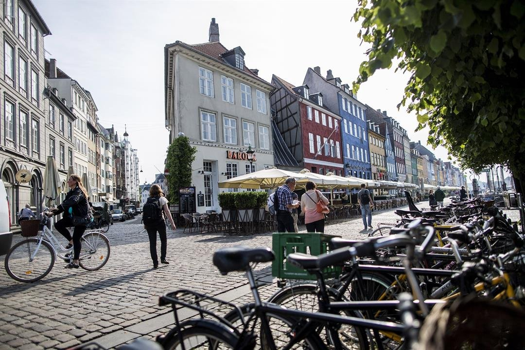 **This image is for use with this specific article only.**  icycles line a cobbled street in the Danish capital Copenhagen.
