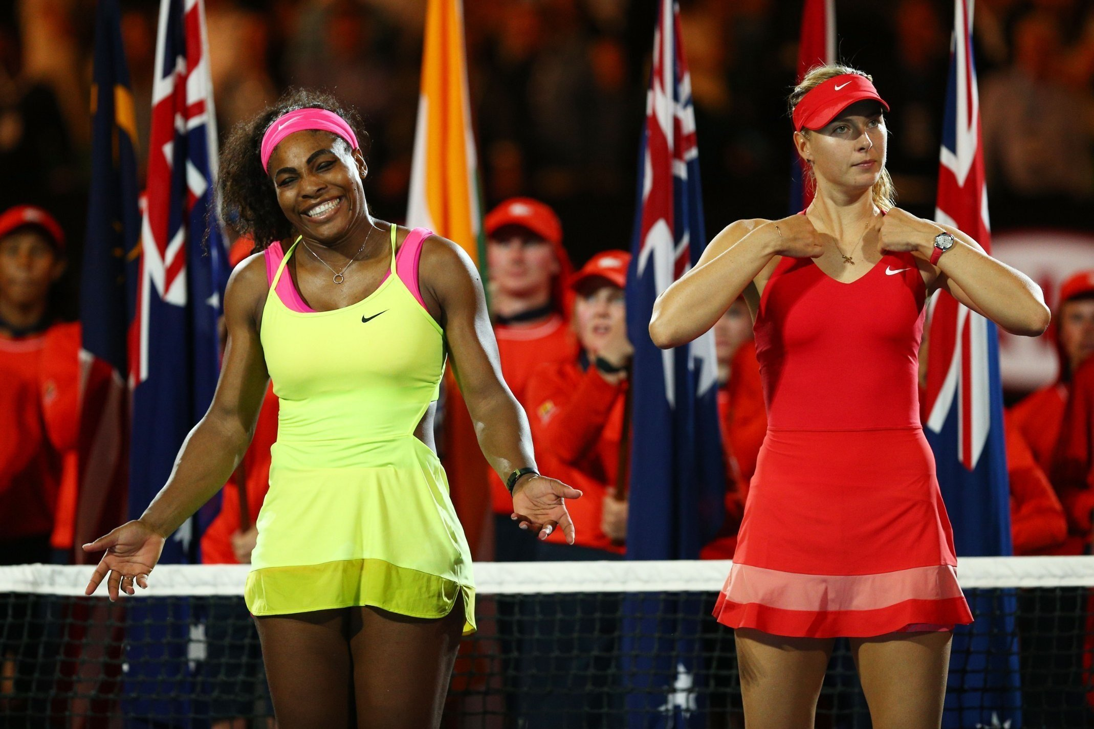 **This image is for use with this specific article only.**  Serena Williams beat Maria Sharapova in 2015, but will the Russian win in the American's absense?