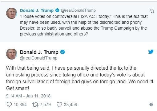 President Donald Trump tweeted about FISA