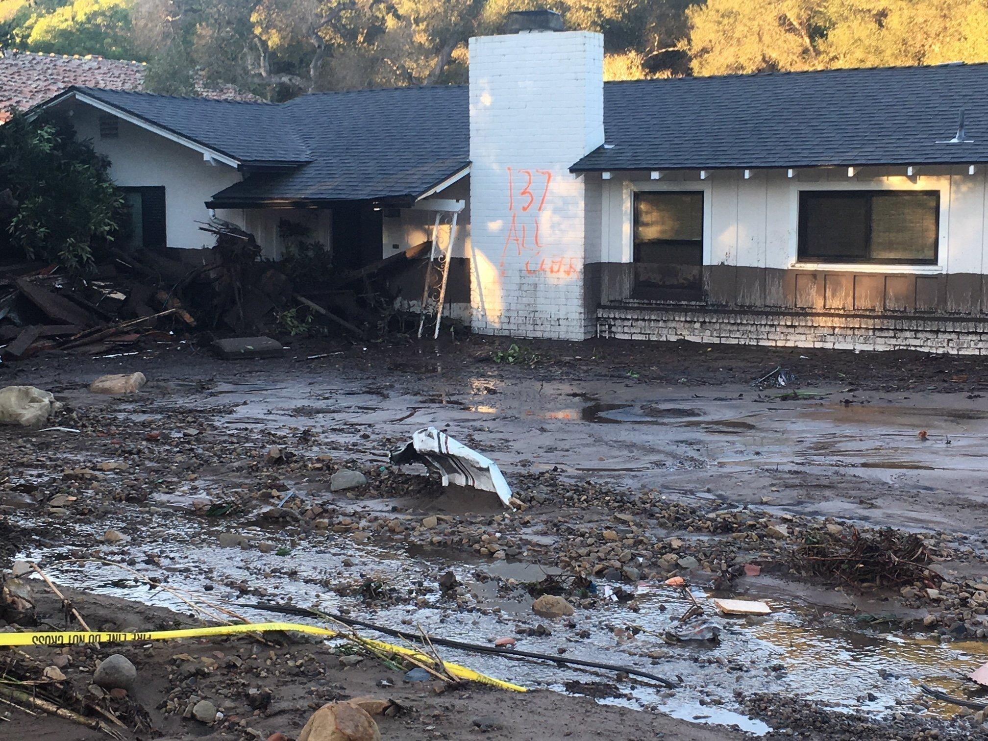 A home ruined in Montecito, California due to mudslides.