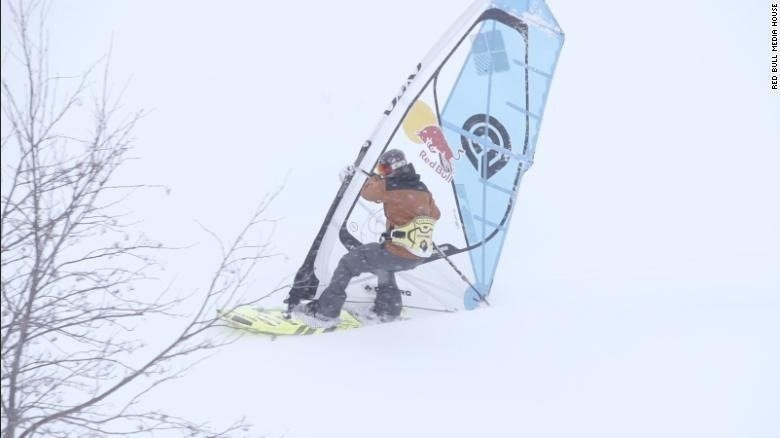 Levi Siver, a professional windsurfer used to jumping waves and carving turns in the ocean, performed a world first last year when he took his sport to a snow-capped mountain in Japan.