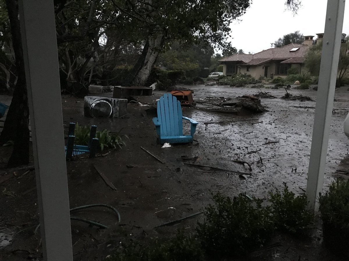 Heavy rains were triggering dangerous flooding Tuesday, January 9, 2017, morning in Southern California, with rivers of mud and debris destroying at least three homes and pooling water forcing police to close parts of the coastal US Route 101,...