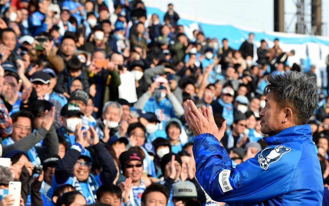 **This image is for use with this specific article only.**  Kazuyoshi Miura celebrates his 50th birthday with fans in February 2017, after the opening match of the season against Matsumoto Yamaga in Yokohama.