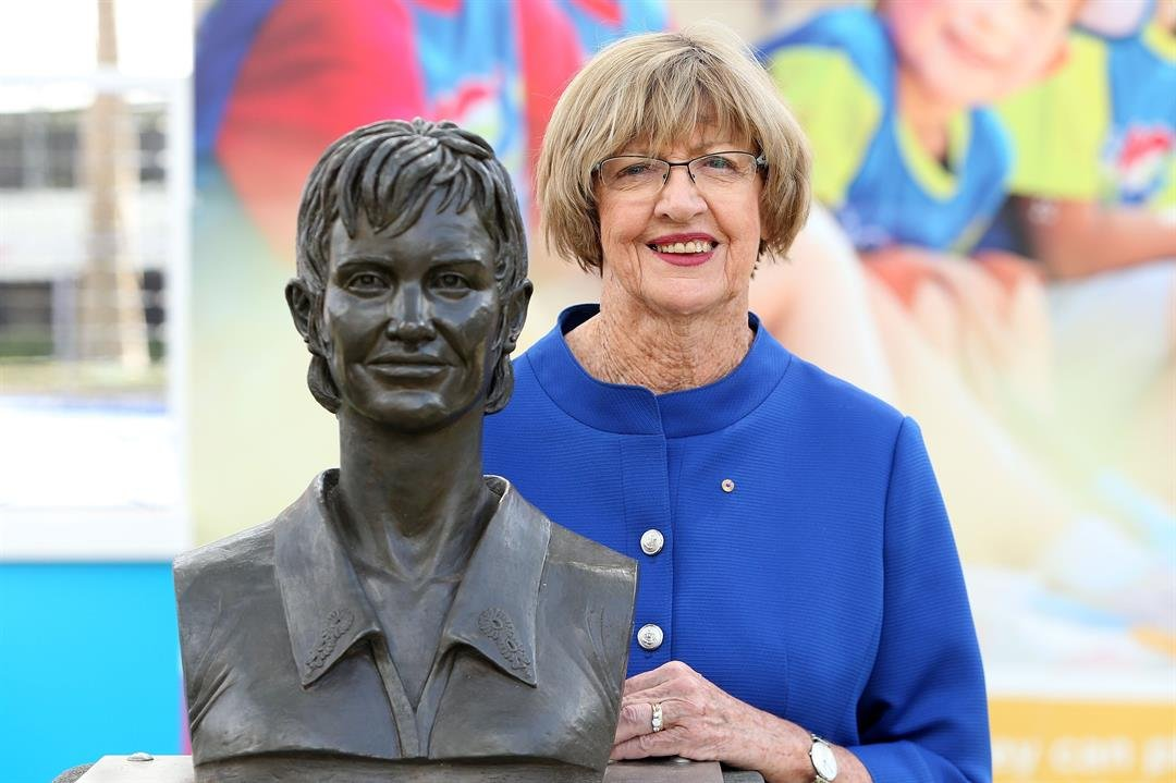 **This image is for use with this specific article only.**  Margaret Court poses with a bronze bust of herself during the 2015 Australian Open at Melbourne Park on January 29, 2015.