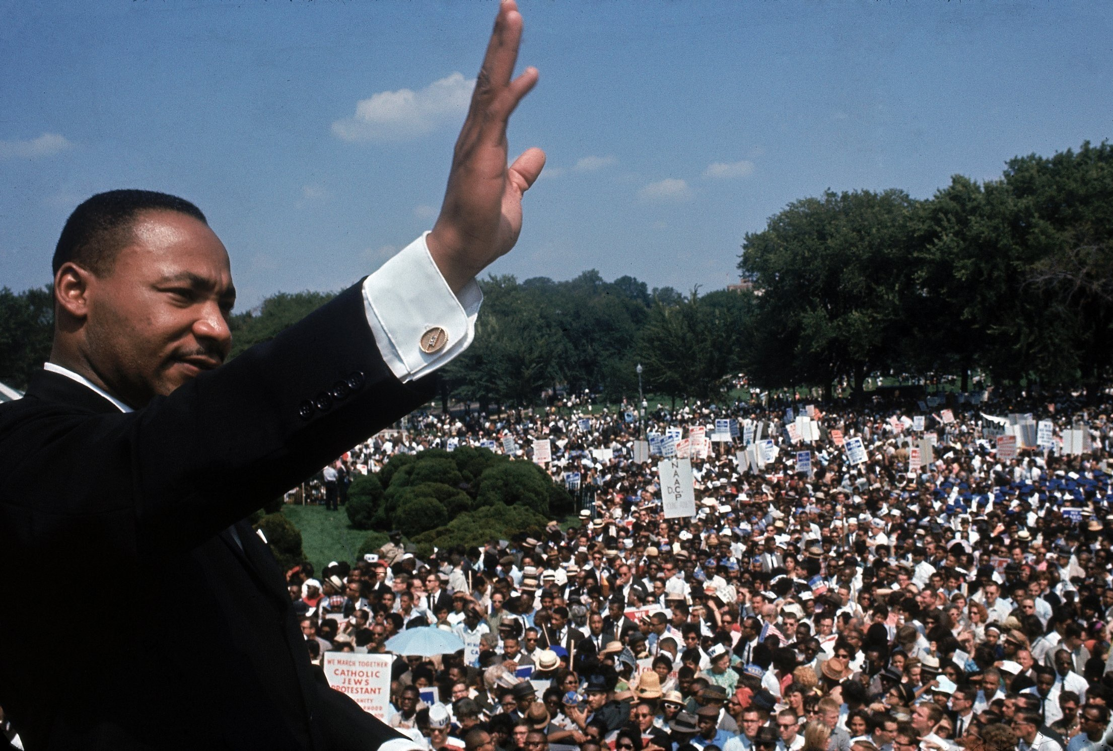 **This image is for use with this specific article only.**  We know MLK fought against racism, but he also had much to say about issues in today's headlines.  Full Credit: Francis Miller/Time Life & Pictures/Getty Images