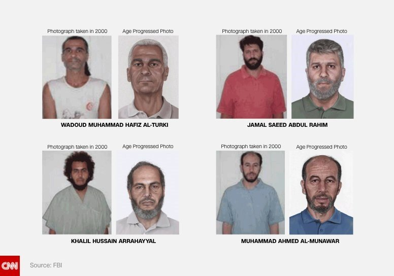 sing new age-progression technology, FBI technicians created new photos of four alleged Pan Am Flight 73 hijackers.