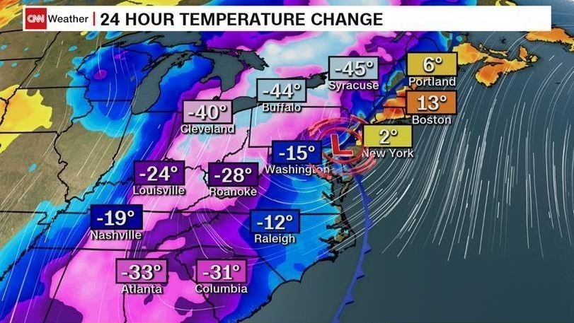 Cities in the Midwest, Southeast, and Northeast saw a sharp temperature drop Friday night into Saturday.  A cold front caused plunges of 40 to 50 degrees in some cities.